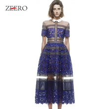 Высококачественное женское длинное платье для подиума,, ажурное кружевное лоскутное платье с отложным воротником, вечерние платья в винтажном стиле