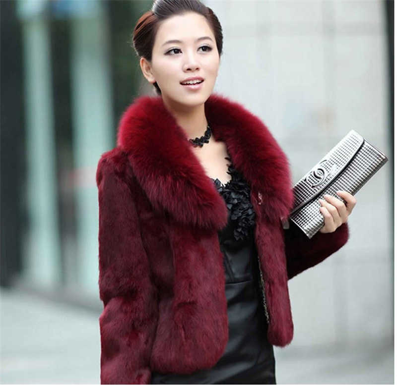 Высококачественная меховая ткань, пальто, женская теплая верхняя одежда, осенне-зимняя короткая куртка с воротником из искусственного лисьего меха, пальто большого размера