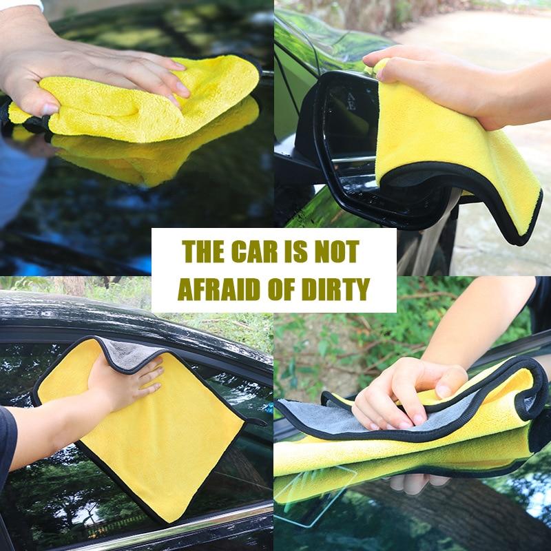 1pcs 30x30/40/60CM Car Wash Microfiber Towel Car Cleaning Drying Cloth Hemming Car Care Cloth Detailing Car Wash Towels