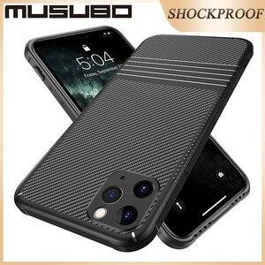 Image 2 - Musubo カーボンろうケース iphone 11 プロマックスソフト耐衝撃シリコン保護バックカバーケース高級 Funda i11 プロ coque