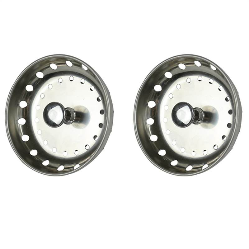 2PCS Kitchen Sink Strainer Replacement For 3-1/2 Inch Standard Drains Brushed Stainless Steel Basket Metal Center Knob With Rubb