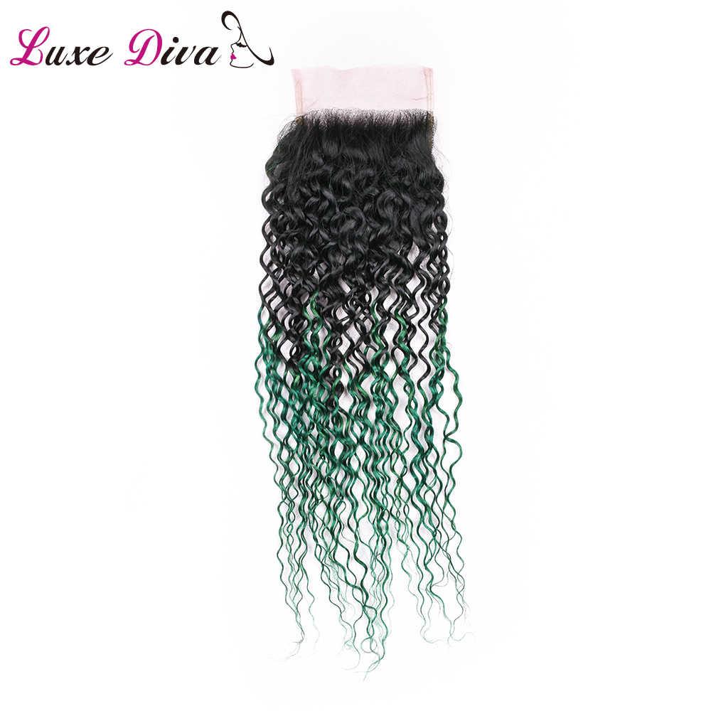 Luxediva T1B/Grün Verworrene Lockige Haar Bundles Mit Closure Brasilianische Menschenhaar-webart Remy Haar Extensions Mit Spitze Verschluss afro