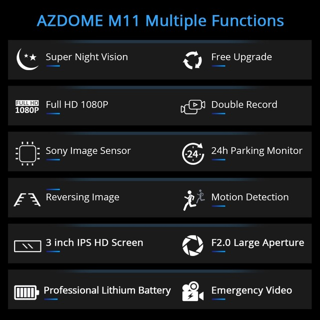 AZDOME M11 3 inch 2.5D IPS Screen Mini  Dash Cam  Full HD1080P Car DVR Car Video Recorder Night Vision car camera dashcam 3
