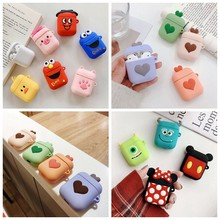 Silicone Wireless Bluetooth Earphone Case untuk Apple Udara Pods 2 Lucu 3D Kartun Headphone Pengisian Case untuk Air Pod Pelindung Tas(China)