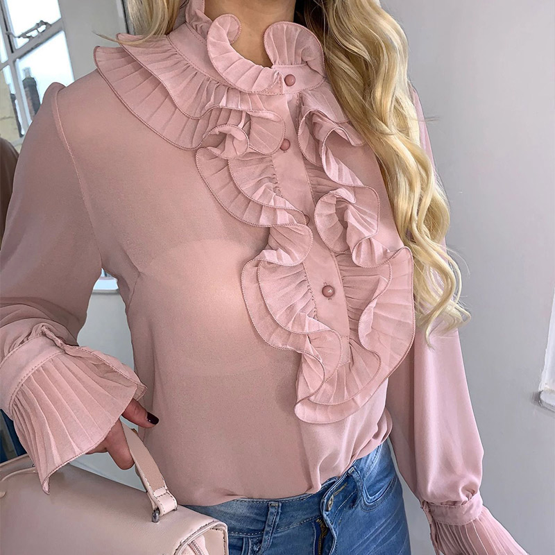 Spring Ruffled Long Flare Sleeve Women's Blouses Black See Through Buttons Female Tops 2020 Summer Vintage Thin Ladies Blouse