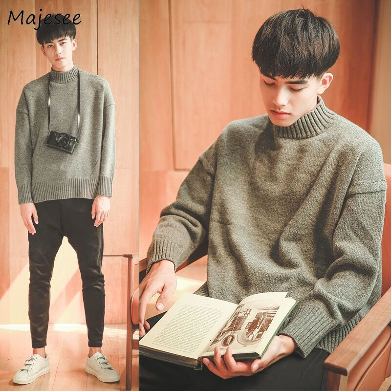 Sweaters Men Turtleneck Simple Soft Knitting Warm Striped All-match Korean Style Leisure Sweater Mens Ulzzang Pullovers Chic