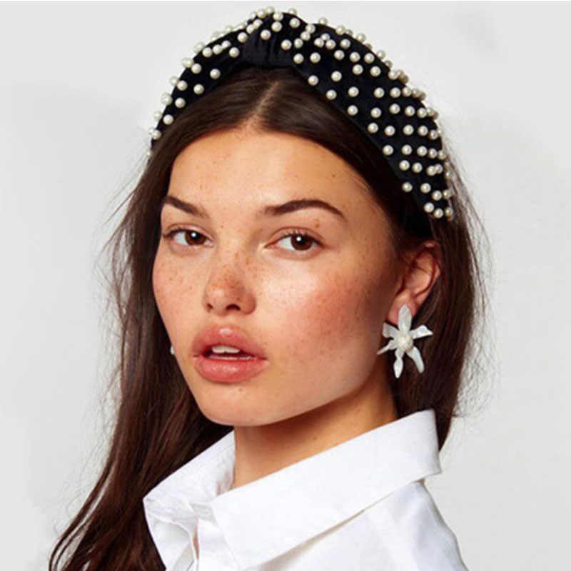 New Bohemian Solid Color Soft Velvet Knot Wide Hairband Women Imitation Pearls Headband Twisted Ladies Hair Accessories Headwear