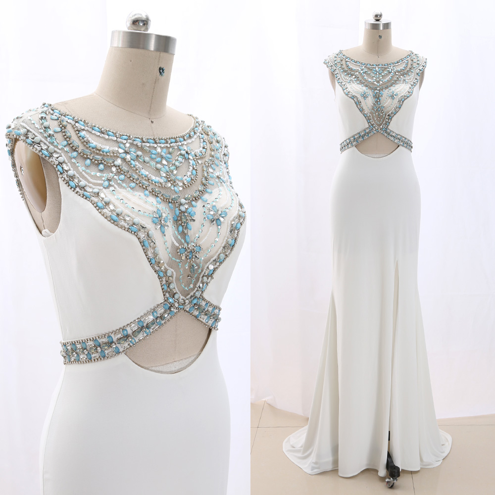MACloth White Sweep Train O Neck Floor-Length Long Crystal Jersey   Prom     Dresses     Dress   M 267012 Clearance