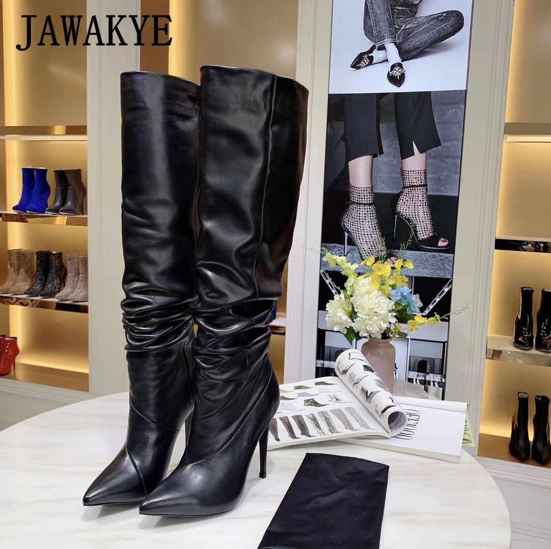 2019 Yeni Altın Siyah Hakiki Deri Kadınlar için Diz yüksek Çizmeler Sivri Burun Yüksek topuklu parti ayakkabıları Kış Uzun Çizmeler Şövalye çizmeler
