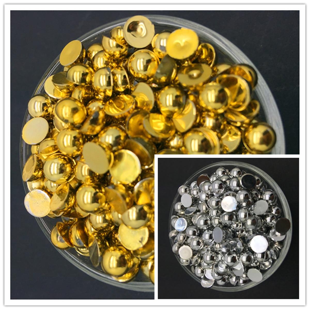 3/4/5/6/8/10mm Gold Silve Half Pearl Bead Flat Back Scrapbook For Craft FlatBack