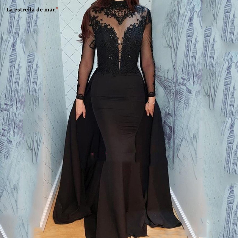 2019 Vintage Black Long Sleeves Evening Dresses High Neck Muslim Arabic Appliqued Sheer Pageant Prom Gowns Formal Gothic Party