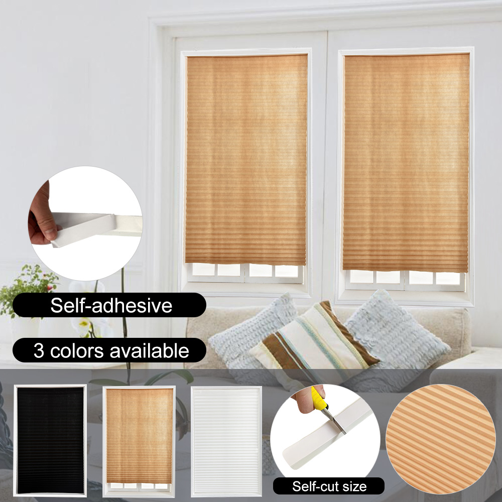 Self-Adhesive Pleated Blinds Curtains Half Blackout Windows For Bathroom Balcony Shades For Living Room Home Window Door