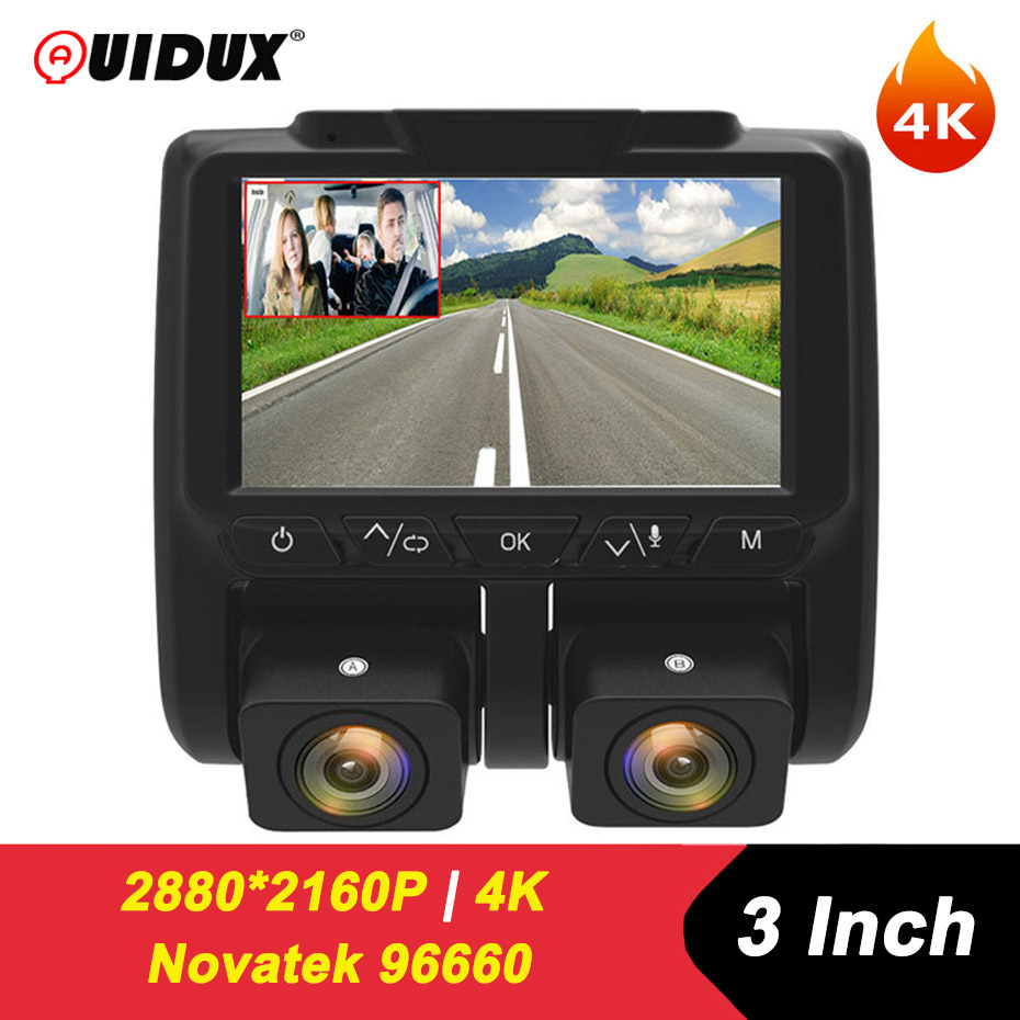QUIDUX 4K Dashcam Dual lens Camera HD 2160P Novatek Car dvr Video Recorder IMX323 Sensor WDR Night Vision G-sensor for <font><b>Uber</b></font> Taxi image
