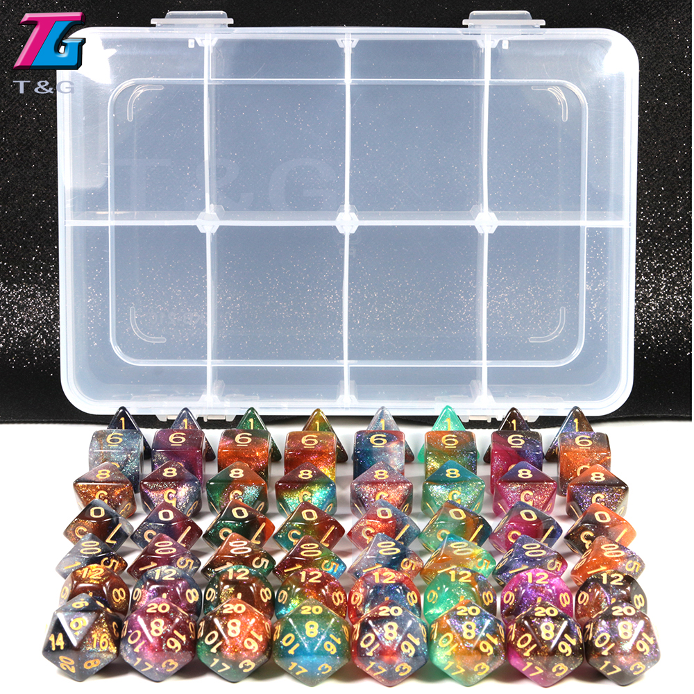 Beautiful Galaxy Dice 56pcs with Box Shine Bright Like Galaxy Game Table Accessories Man Gift  board game