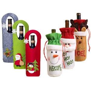 Image 1 - Последняя Рождественская бутылка вина пылезащитный чехол сумка новый год 2021 подарок на Рождество украшение для дома Санта Клаус рождественские подарки