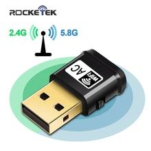 Czytnik kart pamięci Rocketek 600Mbps Dual Band bezprzewodowy adapter USB RTL8188CU bezprzewodowy dostęp do internetu Ethernet odbiornik klucz 2 4G 5GHZ dla Pc windows bezprzewodowy dostęp do internetu tanie tanio 150+433Mbps CN (pochodzenie) Zewnętrzny wireless Pulpit 802 11a g 802 11ac Wireless network card 2 4G i 5G 600 mbps Wifi wi fi usb usb ethernet