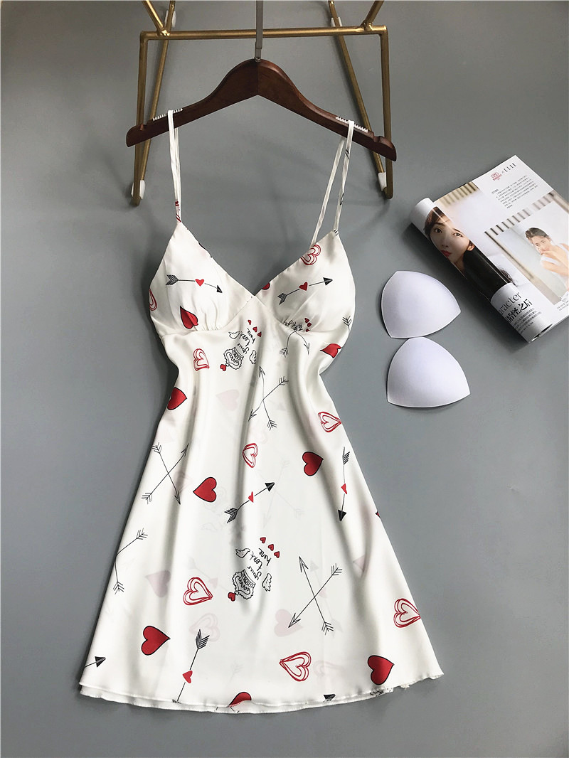 New Sexy Sleepwear Sleepdress  Deep V Lace Lingerie Faux Silk Night Dress Print Cute Strawberry Women Spaghetti Strap Nightgown