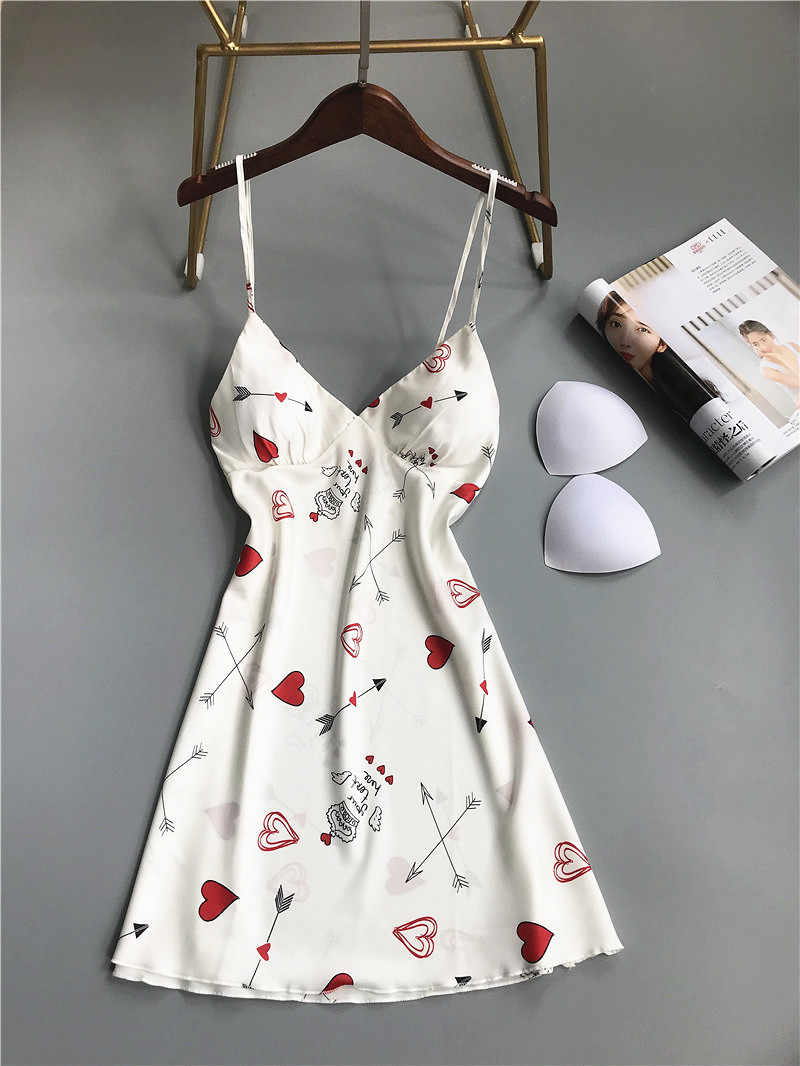 ใหม่เซ็กซี่ชุดนอน Sleepdress Deep V ลูกไม้ชุดชั้นในสตรี Faux Silk Night พิมพ์น่ารักสตรอเบอร์รี่ผู้หญิงสปาเก็ตตี้ Nightgown