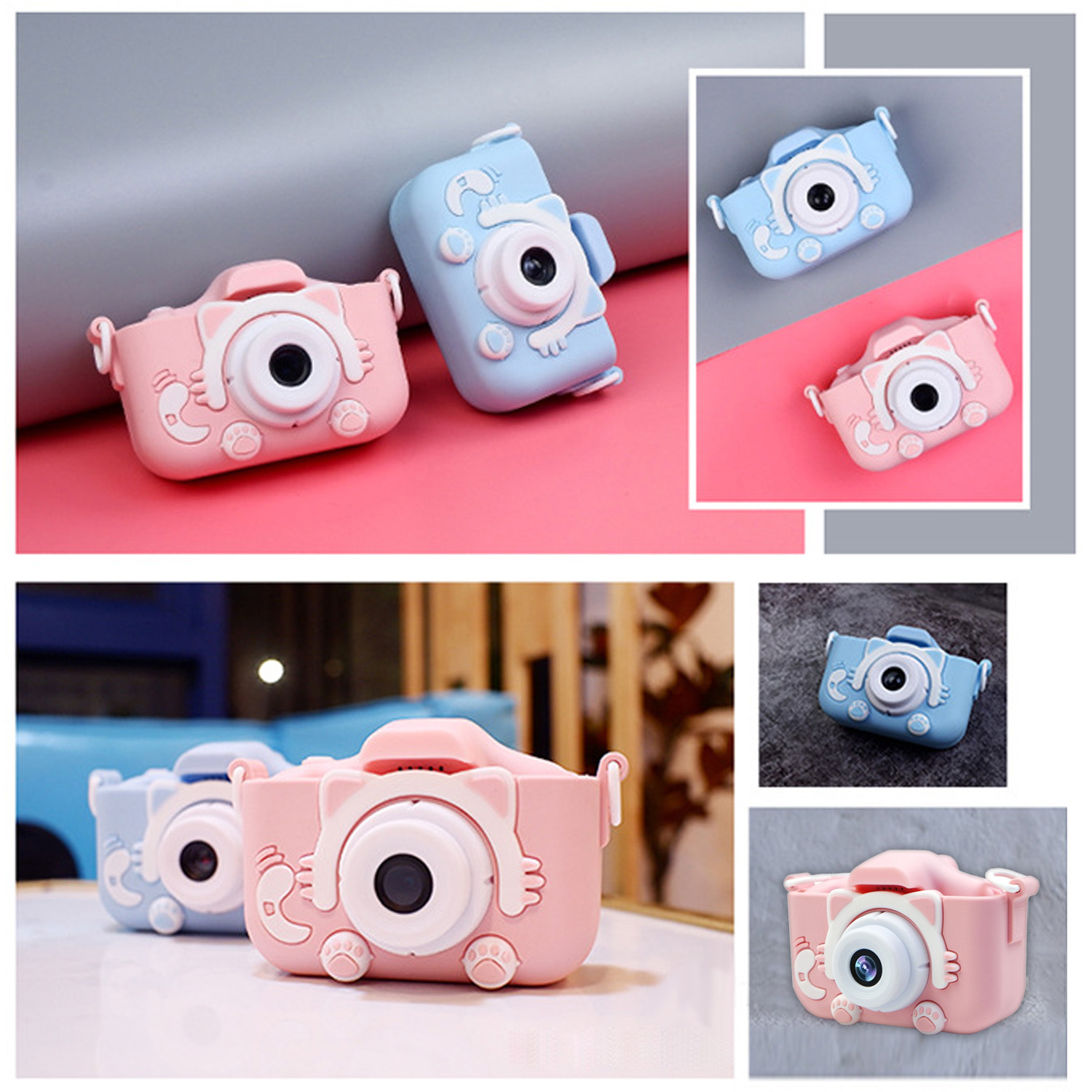 Kids Mini Cute Cat Shape Digital Camera 1080P 1200W Photography Camcorder Video Camera Electronic Camera Toys Built-in Games