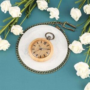 Image 3 - Minimalist Retro Bamboo Wood Quartz Pocket Watch Arabic Numerals Round Dial Stylish Full Wooden Exquisite Pendant Necklace Clock