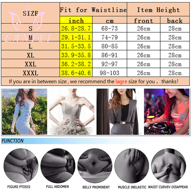 LANFEI Slimming Women Waist Trainer Neoprene Belt Sauna Sweat Body Shaper Tummy Control Cincher Corset Fajas Sport Fitness Strap 5