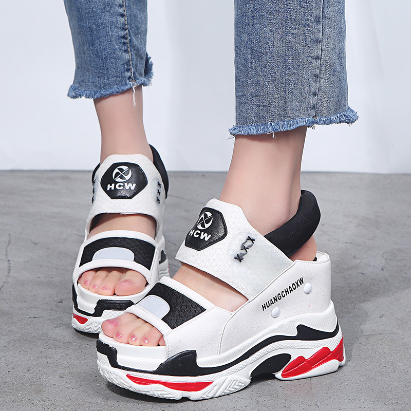 """WeliGates 10cm/3.9"""" Height Shoes Woman Wedge Sandals Thick Bottom Women Shoes  Summer Chunky Sandals High Heels"""