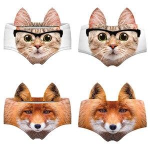 3D забавное нижнее белье с животным принтом котенка, собаки, тигра, лисы, леопарда, женские сексуальные трусики, трусы, нижнее белье, кавайные ...