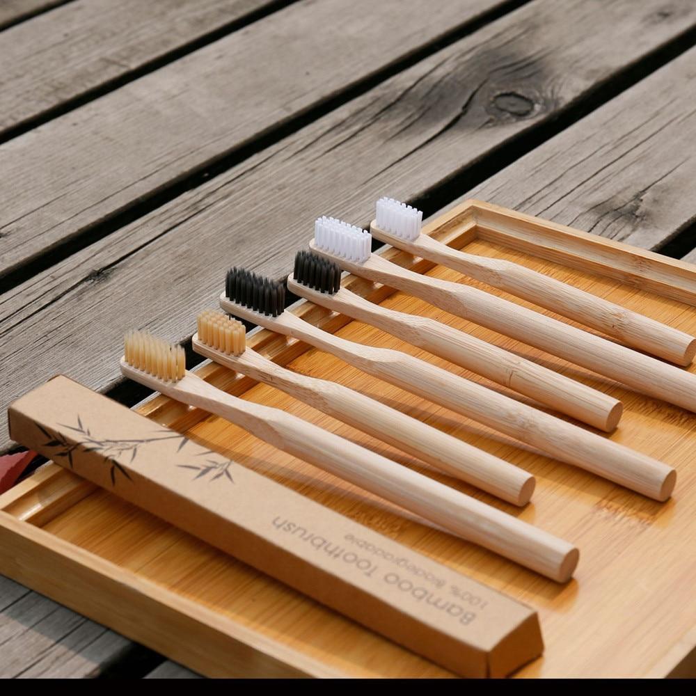 1 шт., деревянная зубная щётка с бамбуковым углем