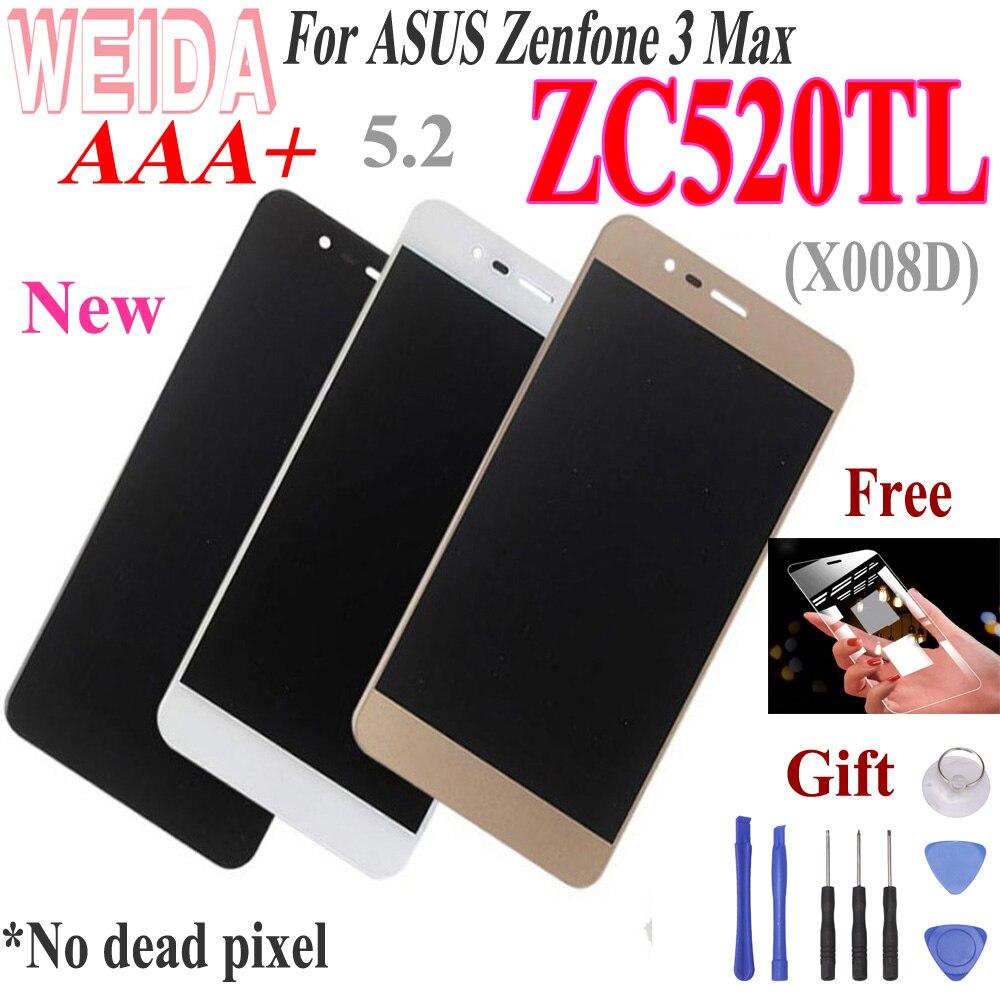 """WEIDA 5.2 """"Für ASUS Zenfone 3 Max ZC520TL LCD Display Touch Screen Digitizer mit Rahmen Für ASUS X008D LCD Kostenlose Tools"""