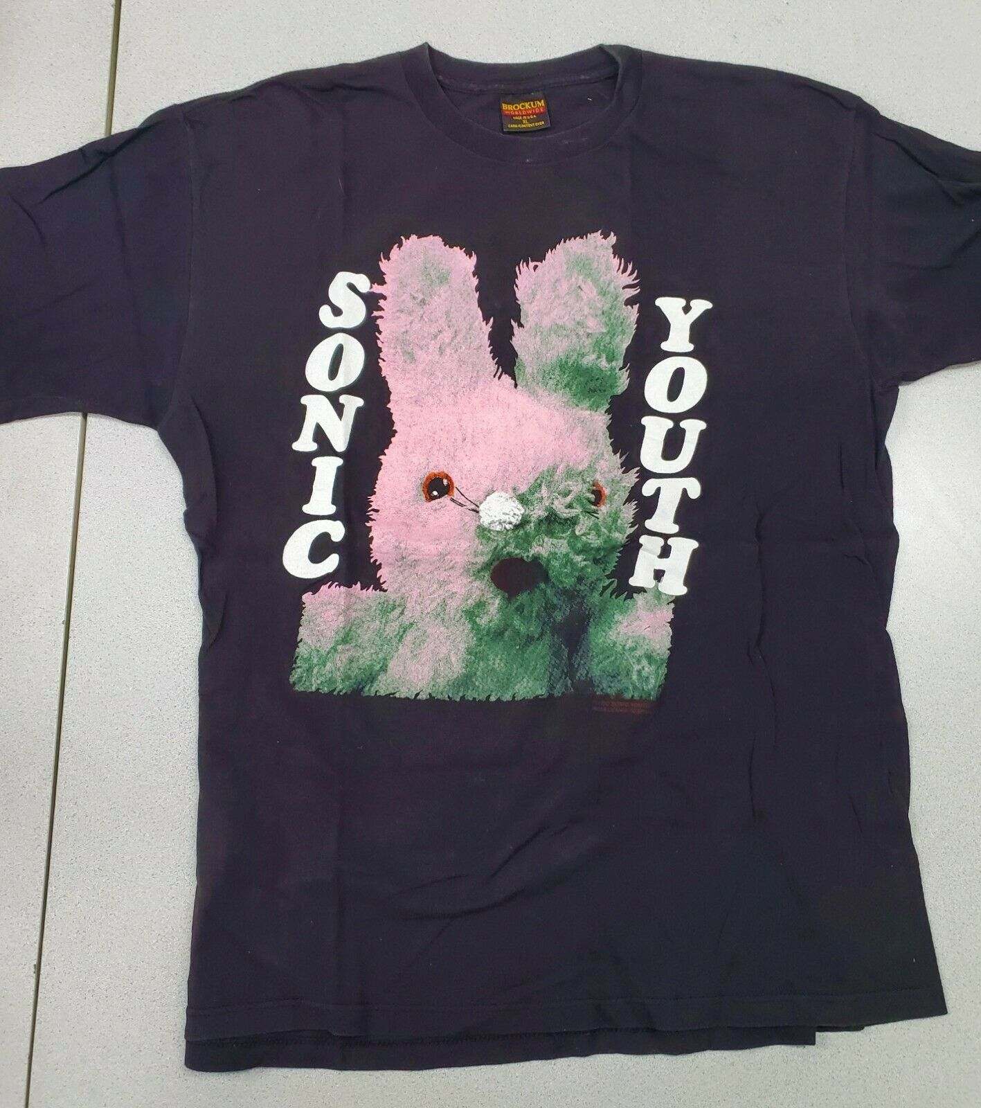 Sonic Youth Black T Shirt Xl Gracias Tshirt Vintage Rare Bunny Nirvana Brockum !