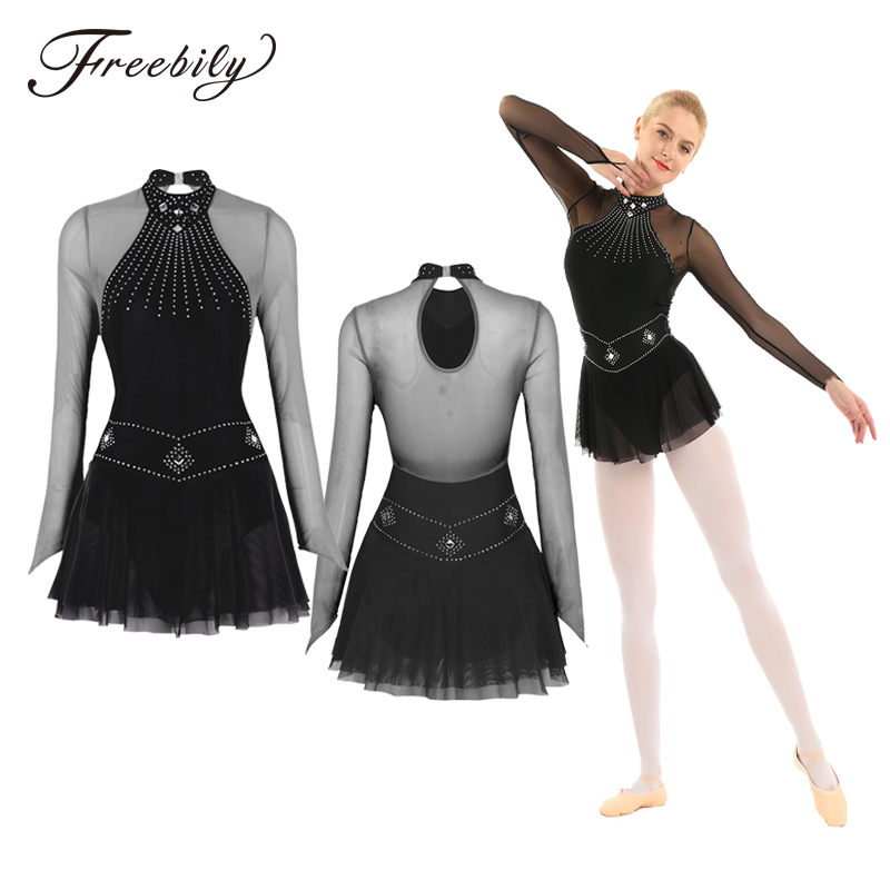 Adult Shiny Rhinestones Long Sleeve Mesh Splice Ballet Gymnastics Leotard Women Figure Skating Dress Competition Dance Costumes