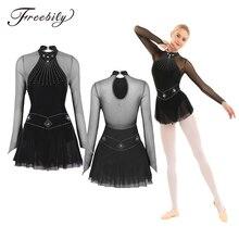 Adulto Shiny Strass Manica Lunga Mesh Splice Balletto Body Donne di Pattinaggio di Figura Vestito Concorso di Danza Costumi