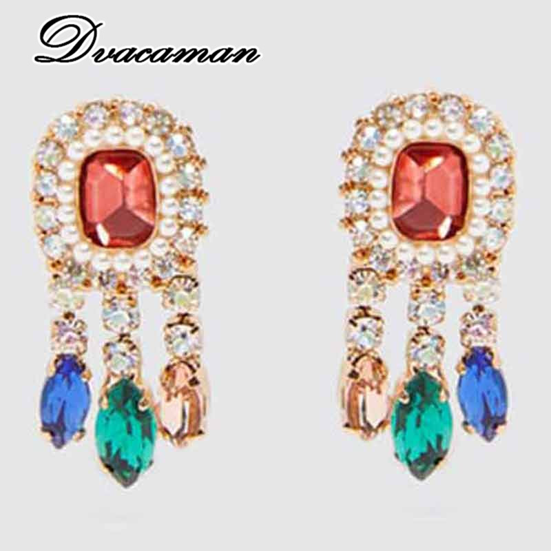 Dvacaman Tassel-Earrings Jewelry Crystal Rhinestone-Drop Multi-Color ZA Women Fashion