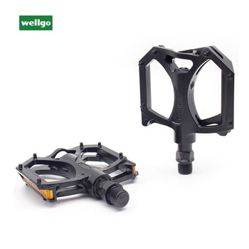 WELLGO Pedal M195 Aluminum Alloy MTB Bike Pedals 2DU Bearing Ultralight Pedal Mountain Bicycle Parts With Reflector