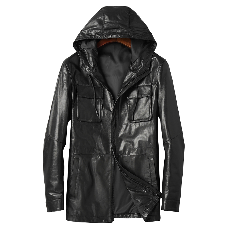 DK Men Casual Genuine Leather Jacket Spring Hooded Leather Medium Long Clothing Autumn Real Sheepskin Leather Outwear Clothes