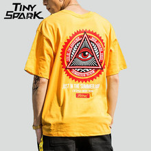 Мужская футболка в стиле хип хоп, Повседневная хлопковая Футболка с геометрическим принтом «треугольные глаза», лето 2020