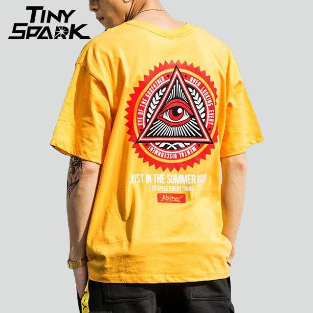 เรขาคณิตสามเหลี่ยมTเสื้อHip Hopผู้ชายเสื้อยืดเจ้าพ่อพิมพ์Casualฝ้ายTops Teesใหม่ 2020 ฤดูร้อนStreetwear TShirt