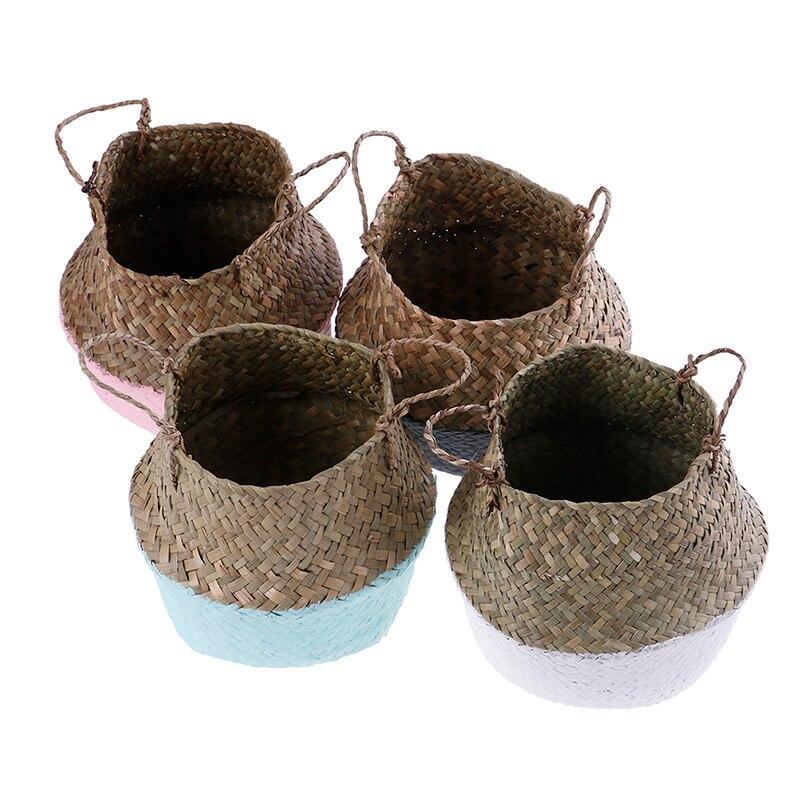 Ручная работа плетение корзина бамбук водоросли цветок горшок хранение корзина складной солома пэчворк ротанг водоросли живот сад декор