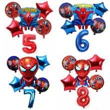 6 Pièces/ensemble 32 Pouces Numéro 1-9 ans Spider-man D'hélium Ballon Spiderman Super-Héros Avengers Ballons de Fête D'anniversaire Décorations