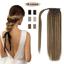 VeSunny-extensiones de cabello de cola rubia, cinta mágica con peine, 100%, cabello humano liso Remy, resaltado rubio caramelo