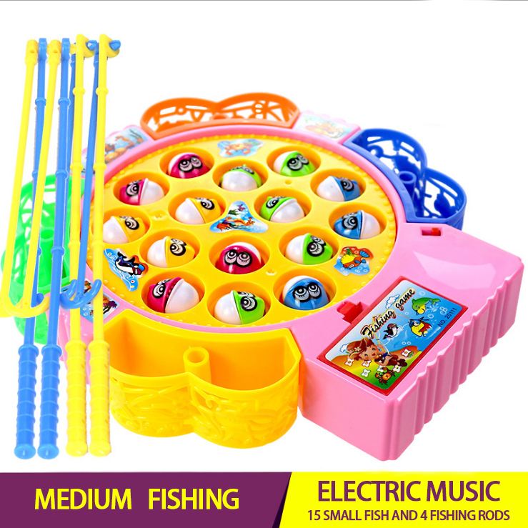 Electric Rotating Fishing Play Game Musical Fish Plate Set Magnetic Outdoor Sports Toys For Children GiftsKids Fishing Toys