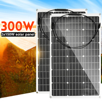 NEW 300W/150W Solar Panel 18V Semi flexible Solar Cell Cable for Car Yacht Light Battery Boat Outdoor Connector Battery Charger