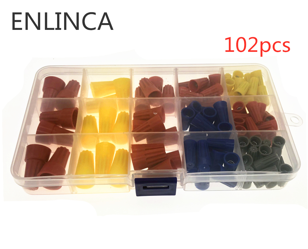 102Pcs/set In Box Electrical Wire Twist Connectors Assorted Wire Twist Nut Connector Terminals Cap Rotating Kit 4 Colors