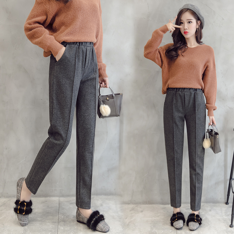 Women Wool Harem Pant 2019 Autumn Winter New Fashion Female Thick Warm High Waist Woolen Pant Pantalon Casual Pencil Trousers