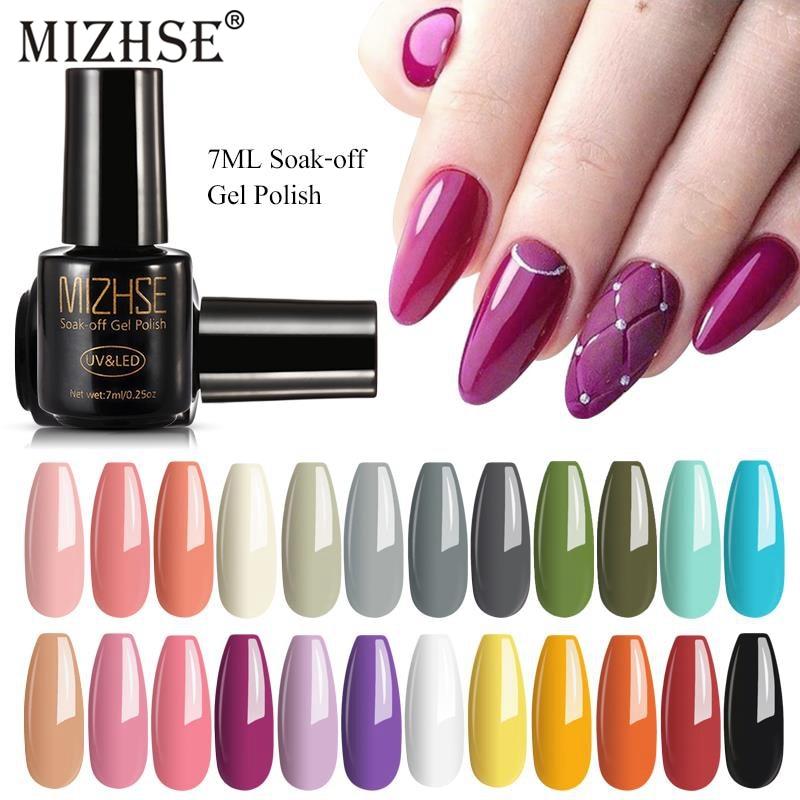 MIZHSE Gel Varnish Hot Selling Spring/Summer Theme Color UV Gel Polish Soak Off Manicure Nail Art Gel Lacquer Rubber Base Top