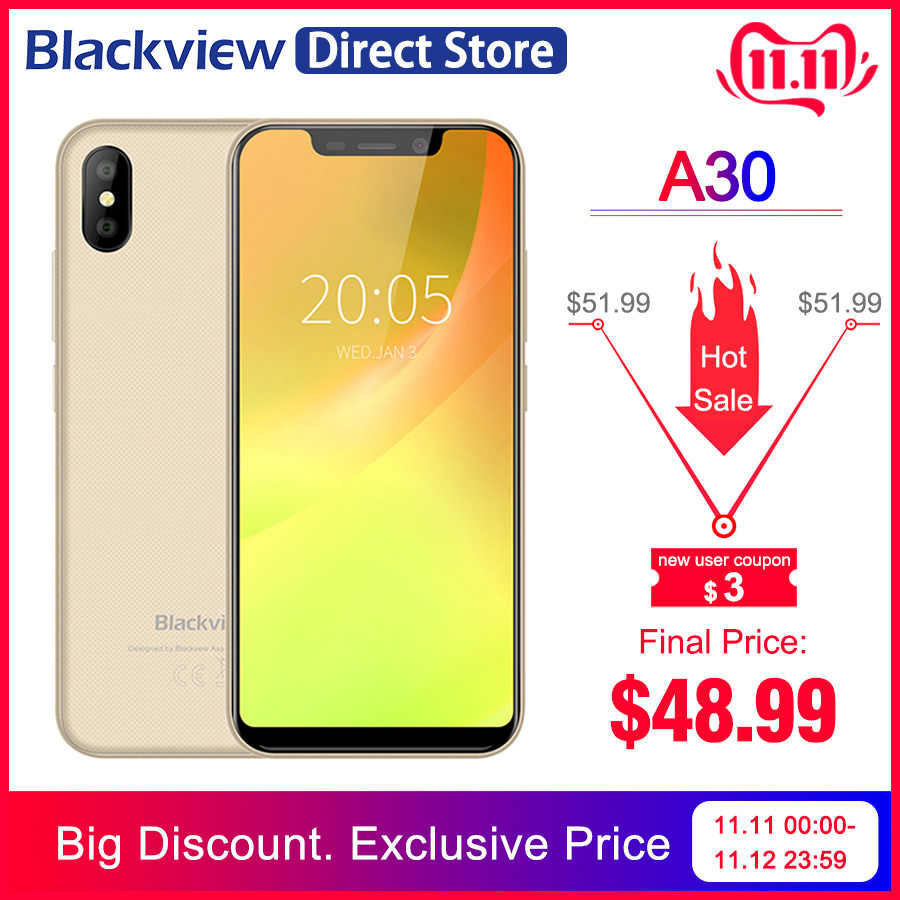 "Blackview A30 2GB RAM 16GB ROM 5.5 ""19:9 affichage plein écran MT6580A Quad Core 8MP Android 8.1 3G téléphone portable"