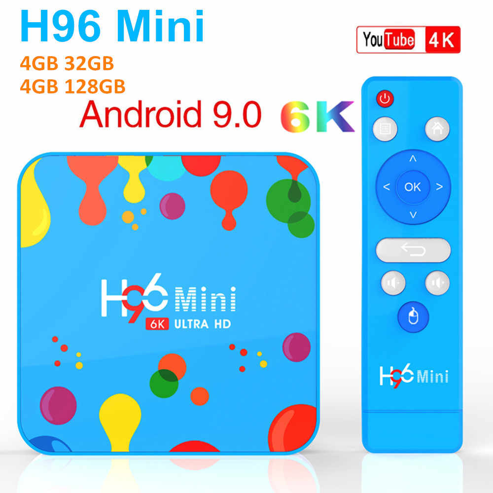 H96 Mini 4 go de RAM 32 go 128 go ROM TV Box Android 9.0 Allwinner H6 Quad Core 6K H.265 5G Wifi Youtube 4K lecteur multimédia intelligent H96 MAX