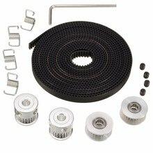 2X GT2 polea 20 dientes diámetro 5mm + 8ft 2,5 m 2GT GT2 correa de distribución y 2X polea 4X tensor para impresora 3D RepRa