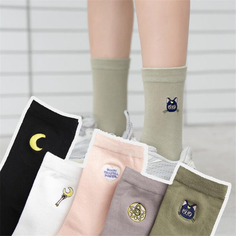 Embroider Japan Anime Sailor Moon Socks Soft Sister Cartoon Cute Sweet Fresh Girl Maid Women Cotton Stockings Lolita Knee Highs