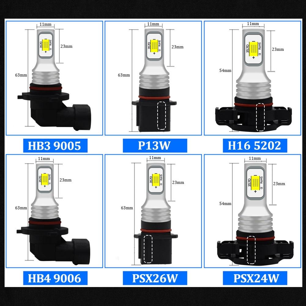 3000 K/6000 K Canbus H8 H11 H7 H1 H3 H16 PY24W HB4 9005 HB3 P13W PSX24W PSX26W h27w 880 881 h27w1 h27w/2 LED Tageslicht DRL Nebel Lampe